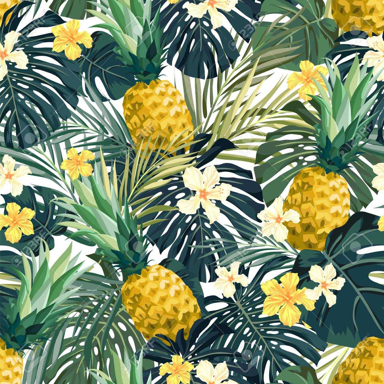 Seamless hand drawn tropical vector pattern with exotic palm leaves, hibiscus flowers, pineapples and various plants on white background. - 142836562