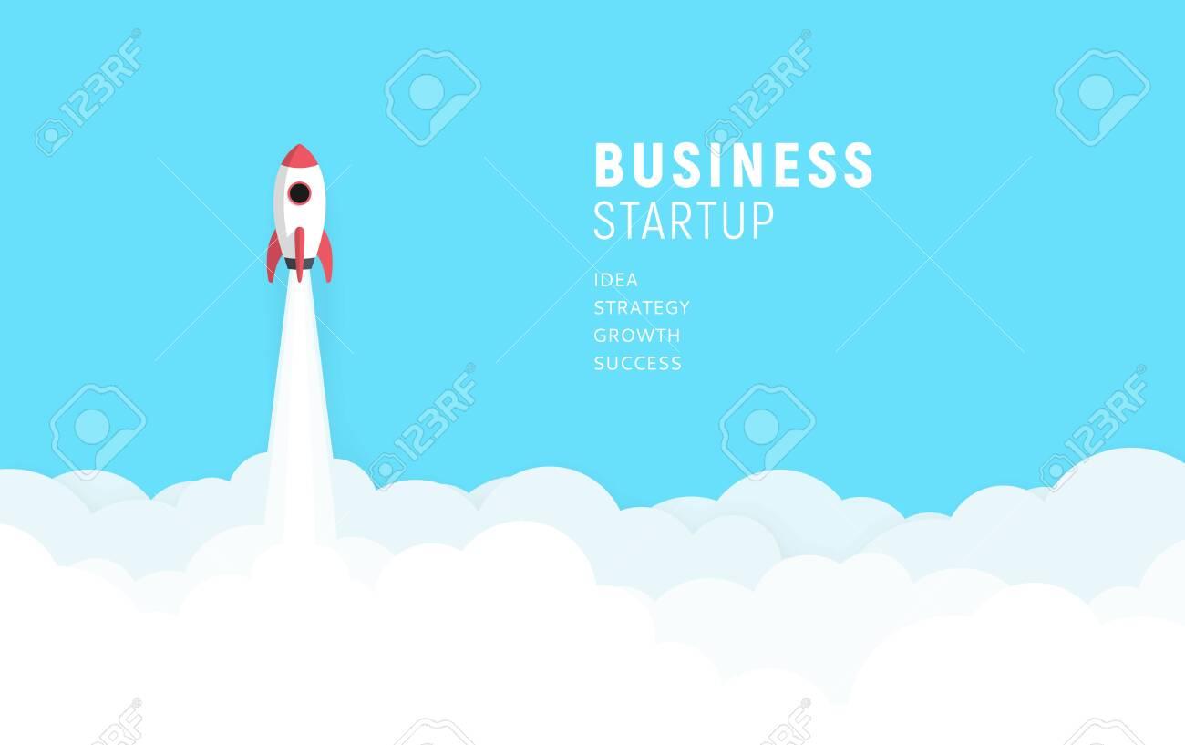 Business startup launch concept, flat design, rocket icon. Vector illustration. - 152044765