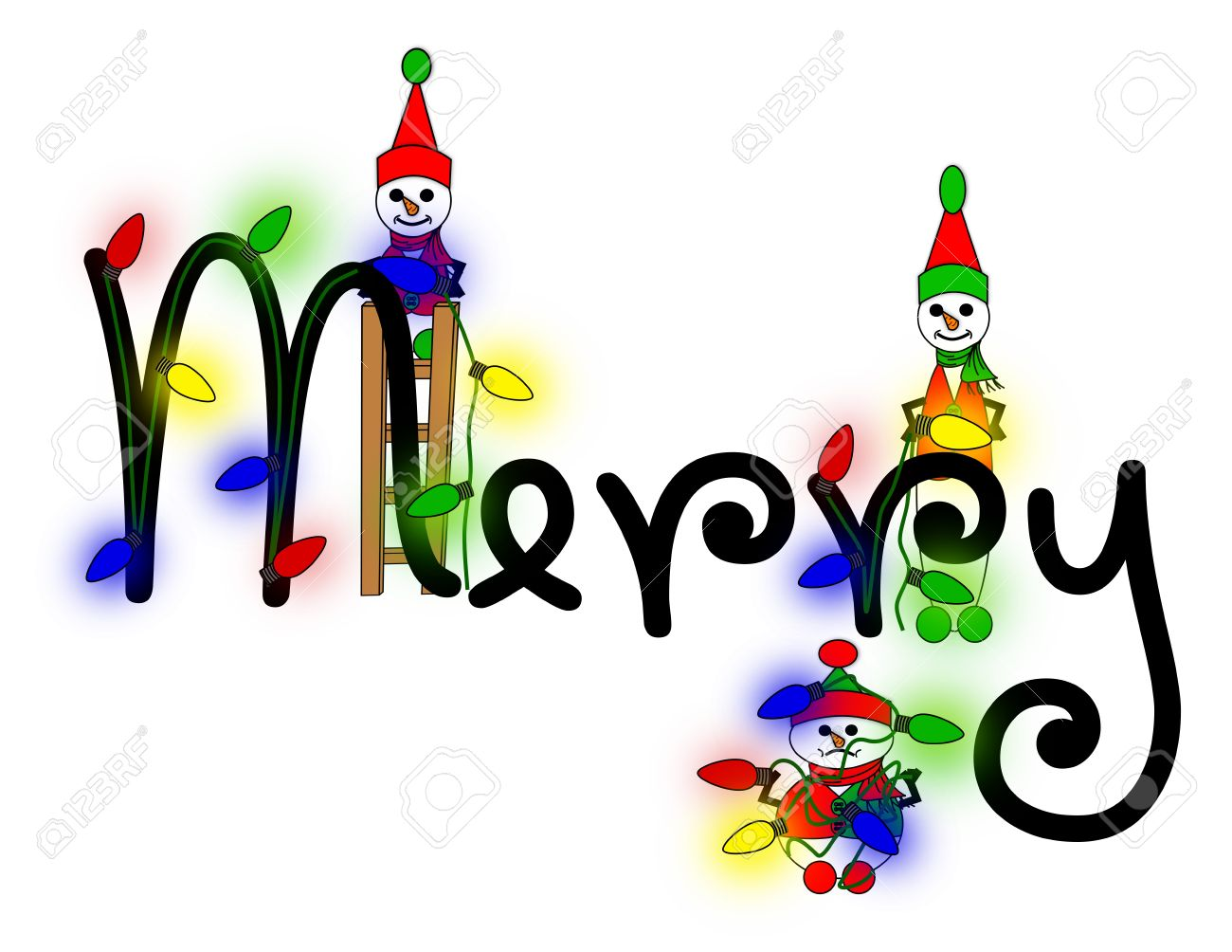 Snow Elves Decorating The Word Merry With Christmas Lights Stock ...