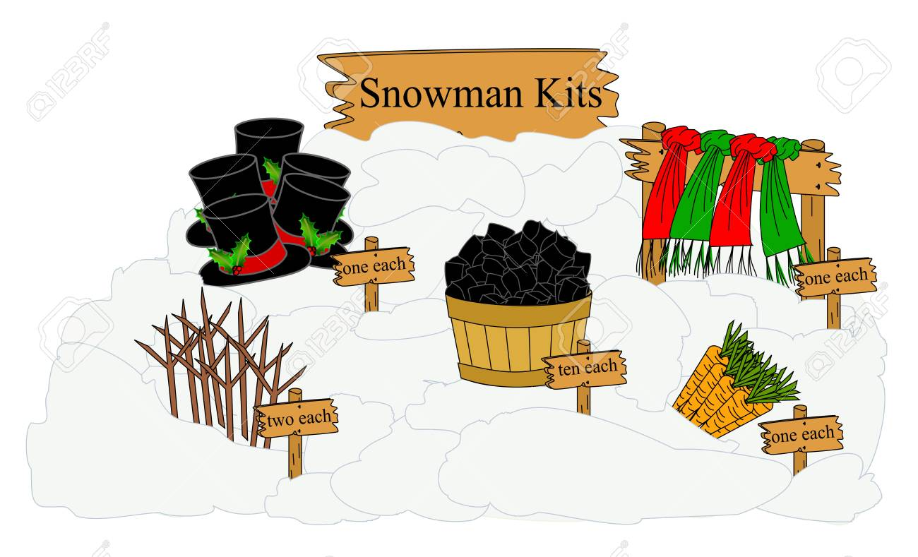 Parts Needed To Build And Decorate A Snowman Displayed As A Kit