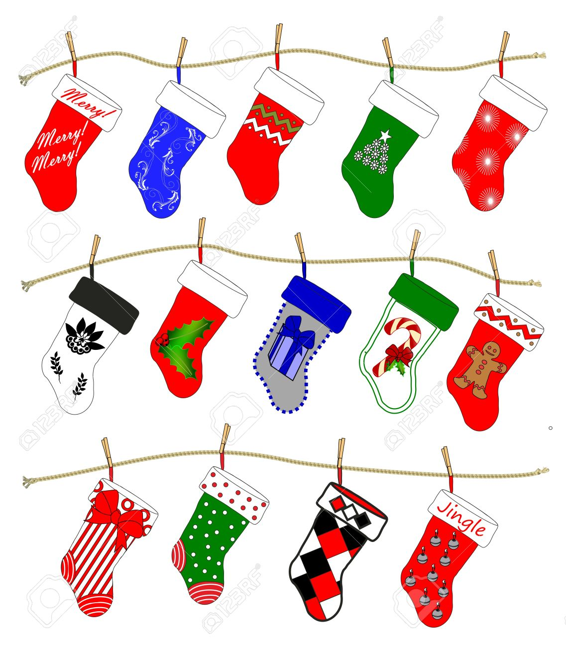 Drawings Of Christmas Stockings.A Drawing Of Fourteen Christmas Stockings In Various Holiday
