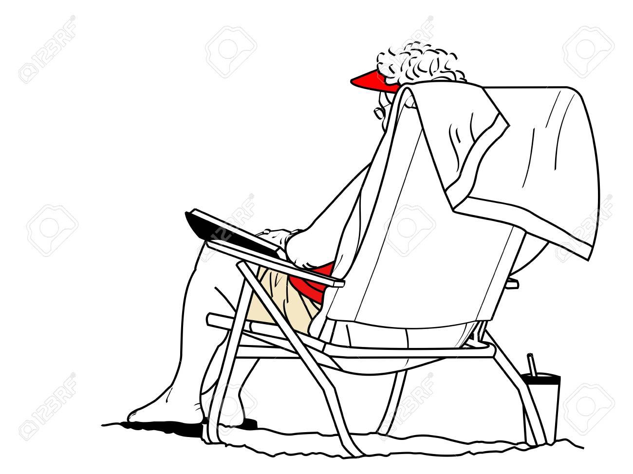 Un Disegno Di Linea Di Una Donna Più Anziana Che Si Siede Su Una