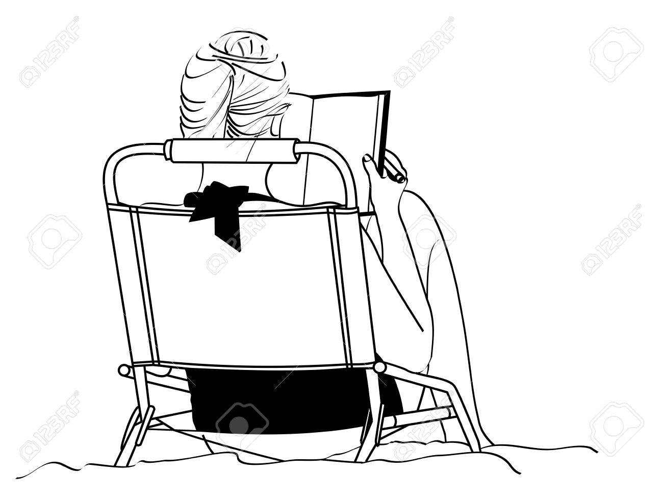 A Line Drawing Of An Young Woman Studying As She Sits In Beach Chair Stock