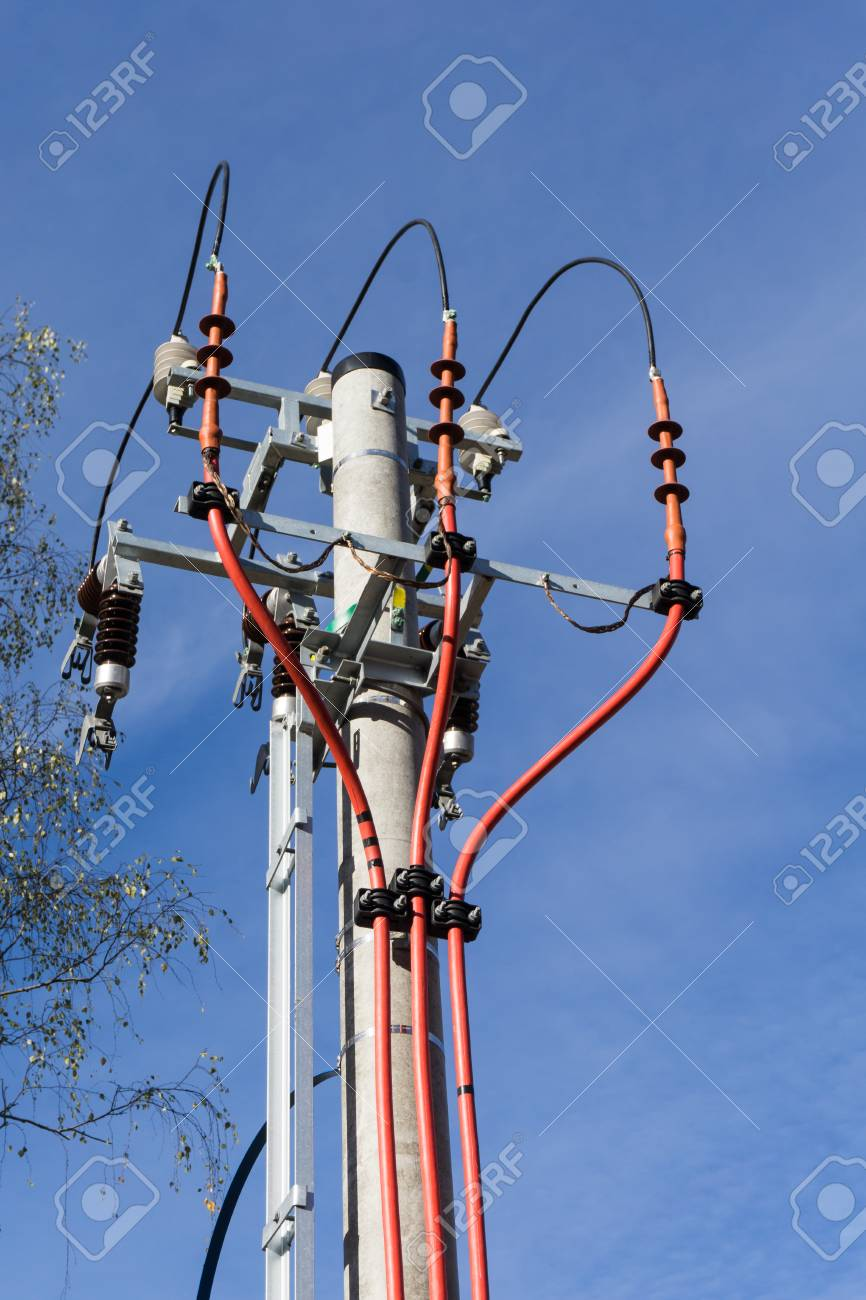 Electric Pole Under Construction With Blue Sky In Background ...