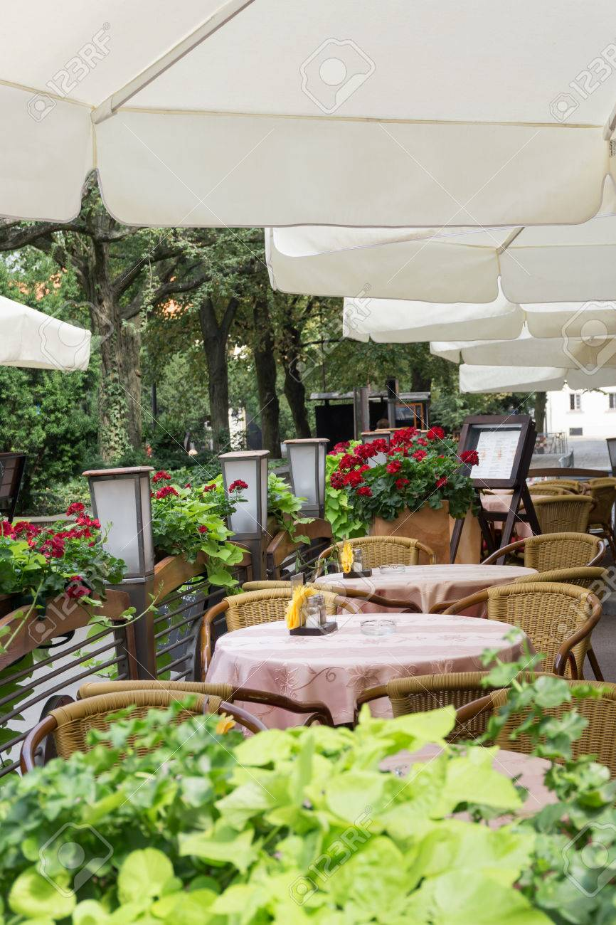 Outdoor Cafe Or Restaurant In Town Tables Covered With Pink Stock Photo Picture And Royalty Free Image Image 57852525