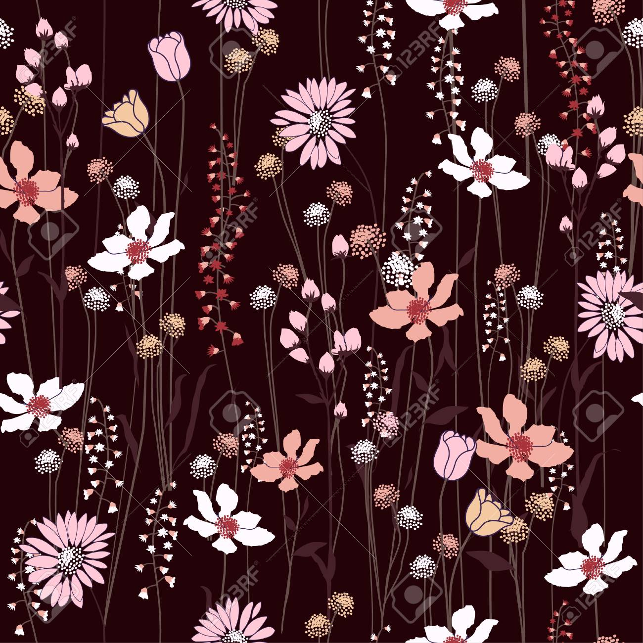 Seamless Pattern Wind Blow Flowers Isolated On Maroon Color