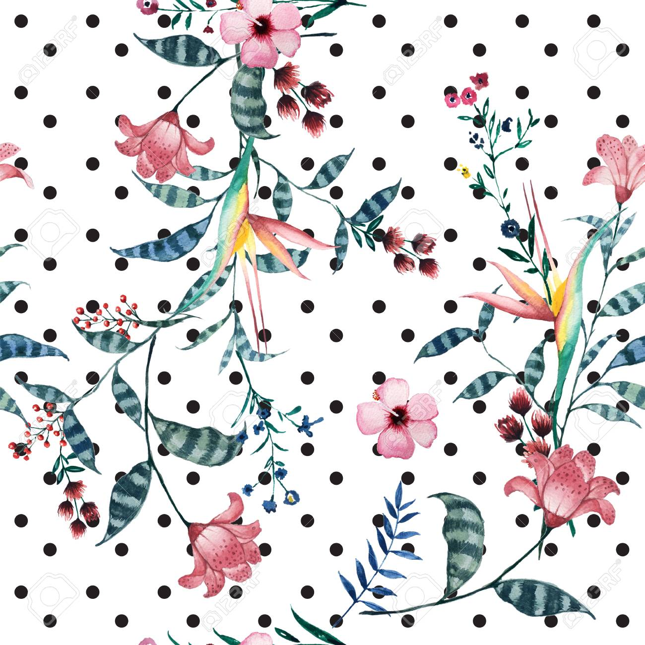 Watercolor Tropical Floral Pattern On Polka Dot Delicate Flower