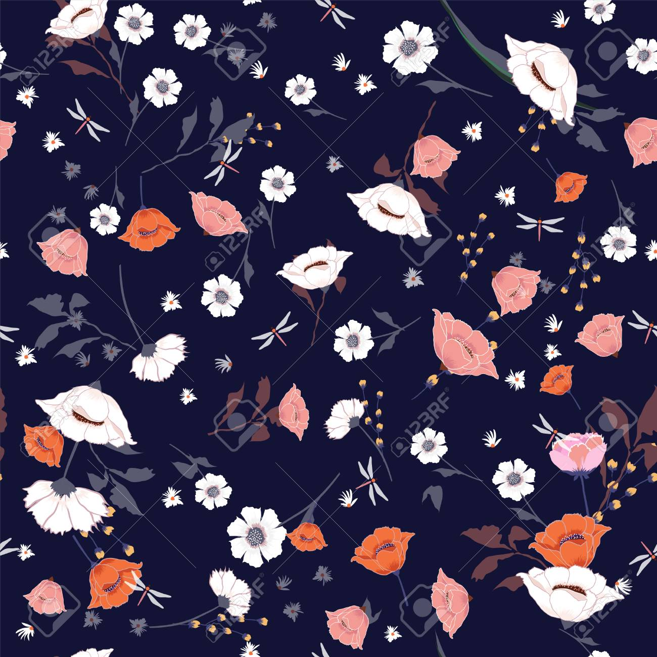 Seamless Pattern Wind Blow Blooming Flowers Isolated On Navy