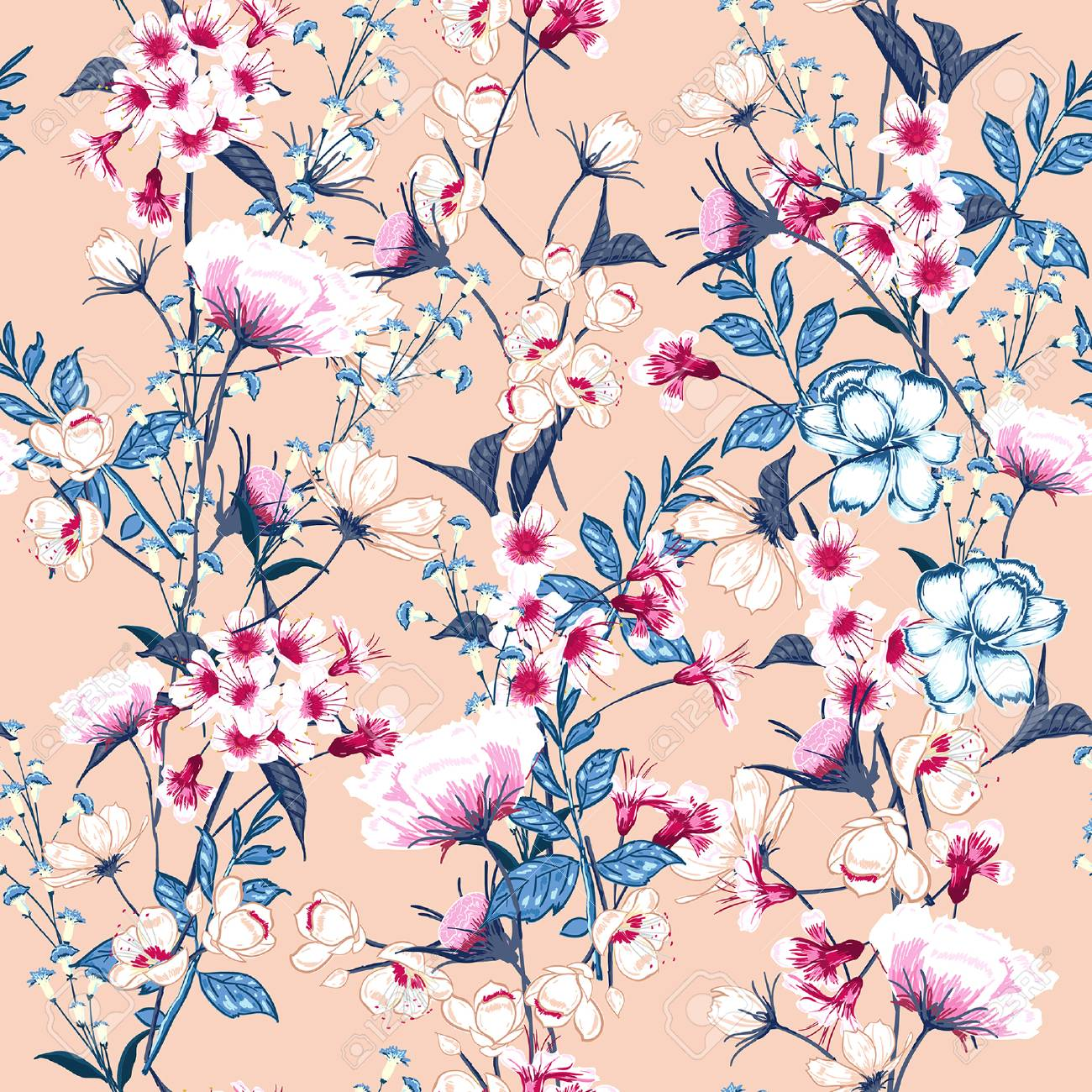 Trendy Floral pattern in the many kind of flowers. Botanical Motifs scattered random. Seamless vector texture. Elegant template for fashion prints. Printing with in hand drawn style on pink background. - 91348073
