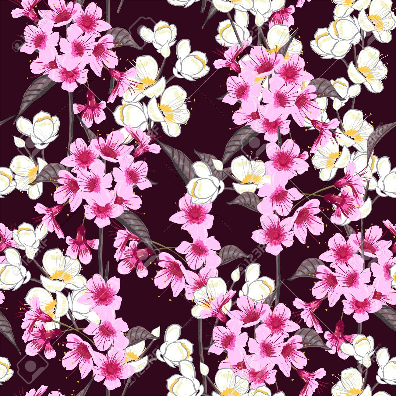 Seamless Background Pattern Of Pink Sakura Blossom Or Japanese