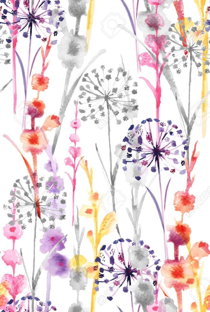 Watercolor Sweet Colorful Color Wild Floral Pattern Delicate