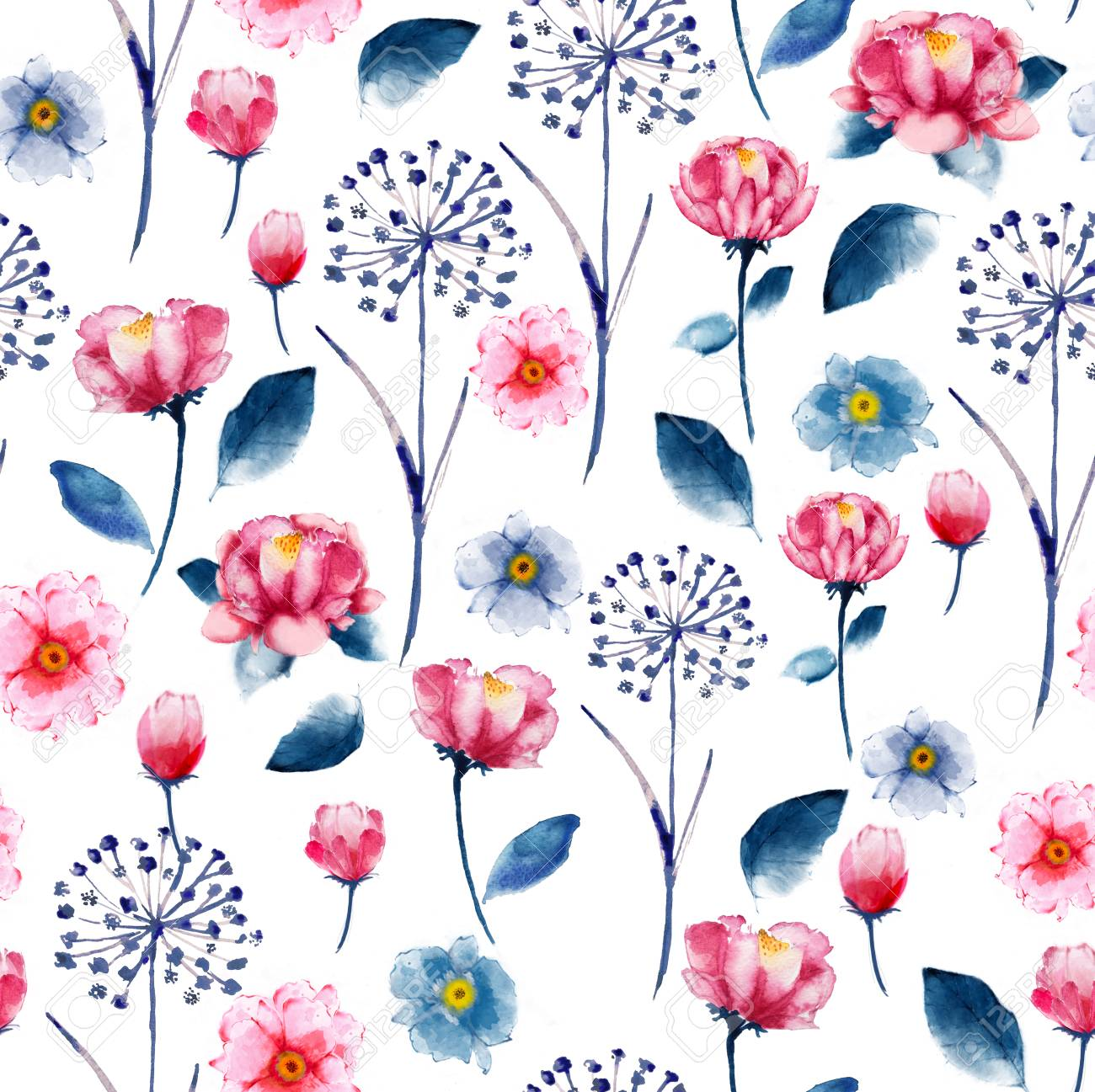 Seamless Bright Watercolor Floral Pattern Delicate Flower