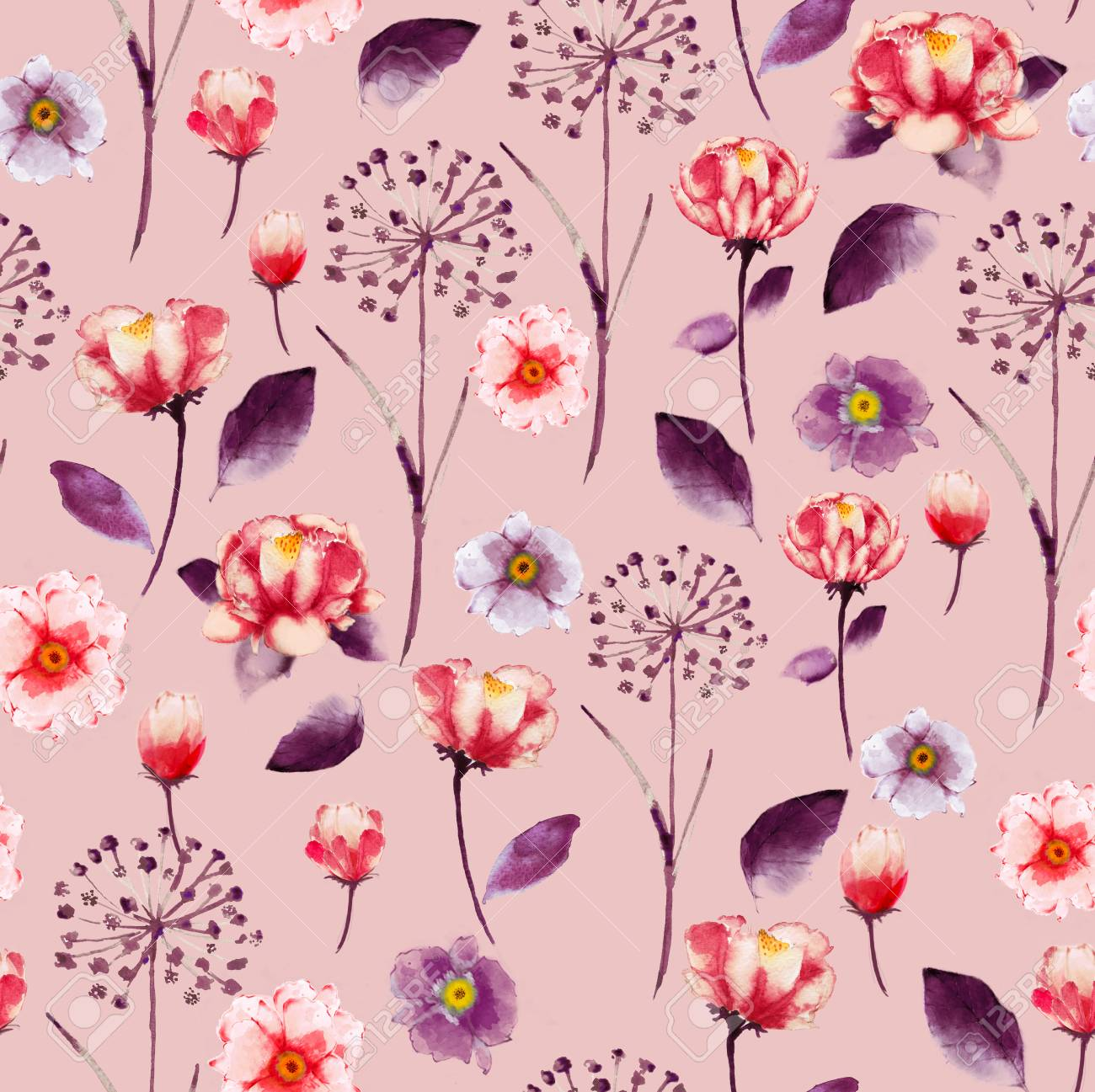 Seamless Watercolor L Floral Pattern Delicate Flower Wallpaper