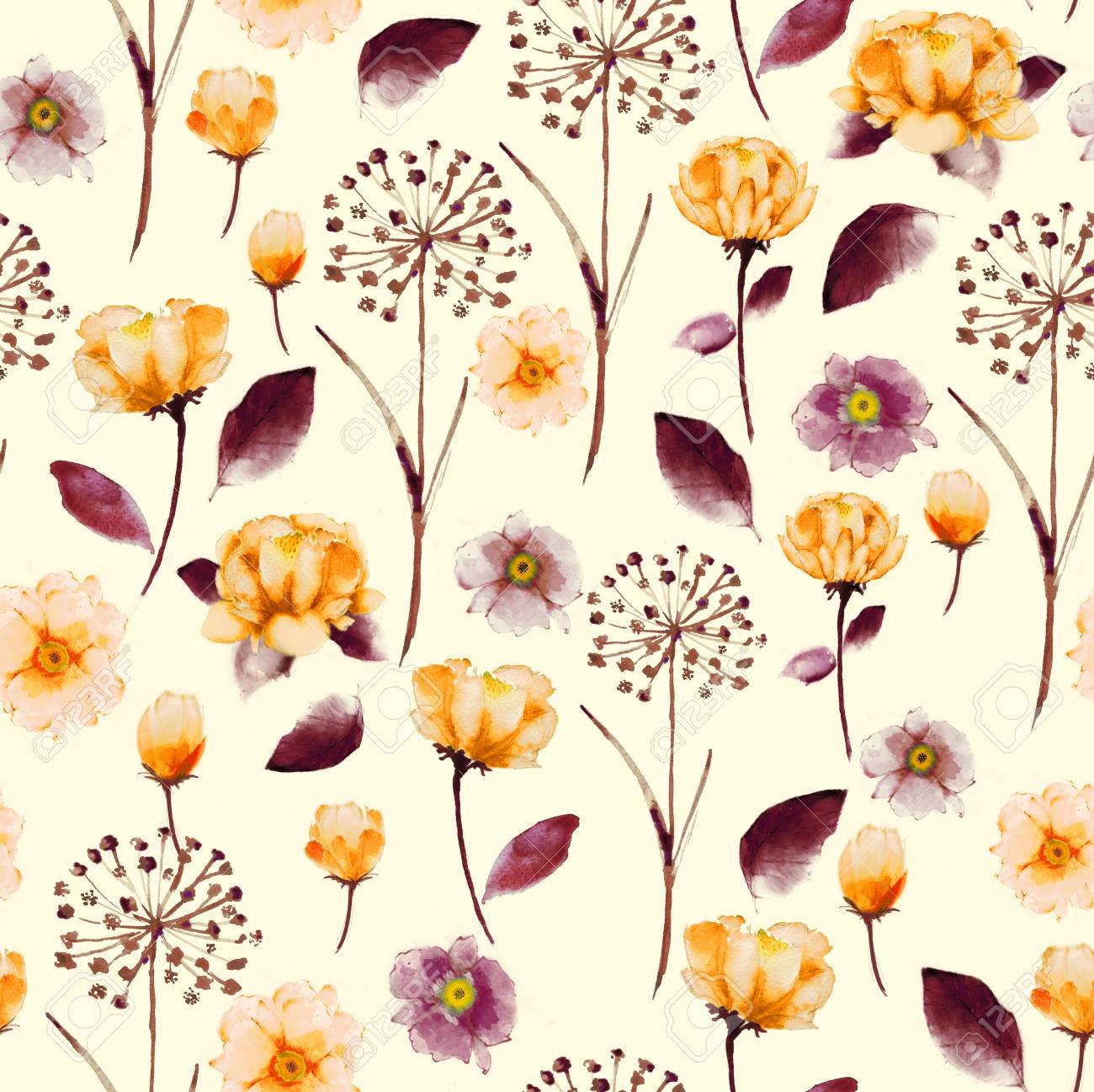 Seamless Bright Vintage Watercolor Floral Pattern Delicate Flower