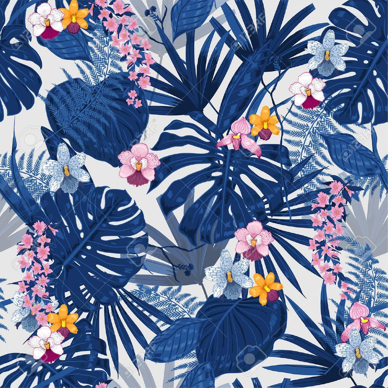 Fondo Exotico Vector Tropical Con Plantas Y Flores Hawaianas Patron