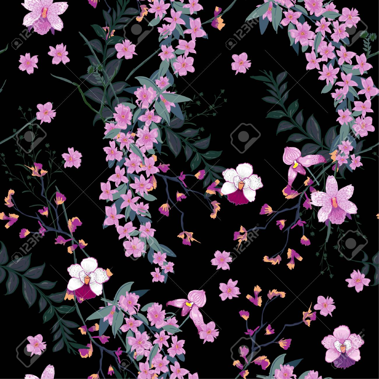 Beautiful night blooming floral pattern in the many kind of wild beautiful night blooming floral pattern in the many kind of wild flowers botanical motifs scattered izmirmasajfo
