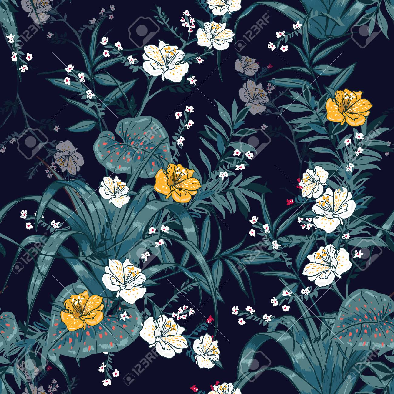 Trendy Vector Seamless Beautiful Artistic Dark Tropical Pattern