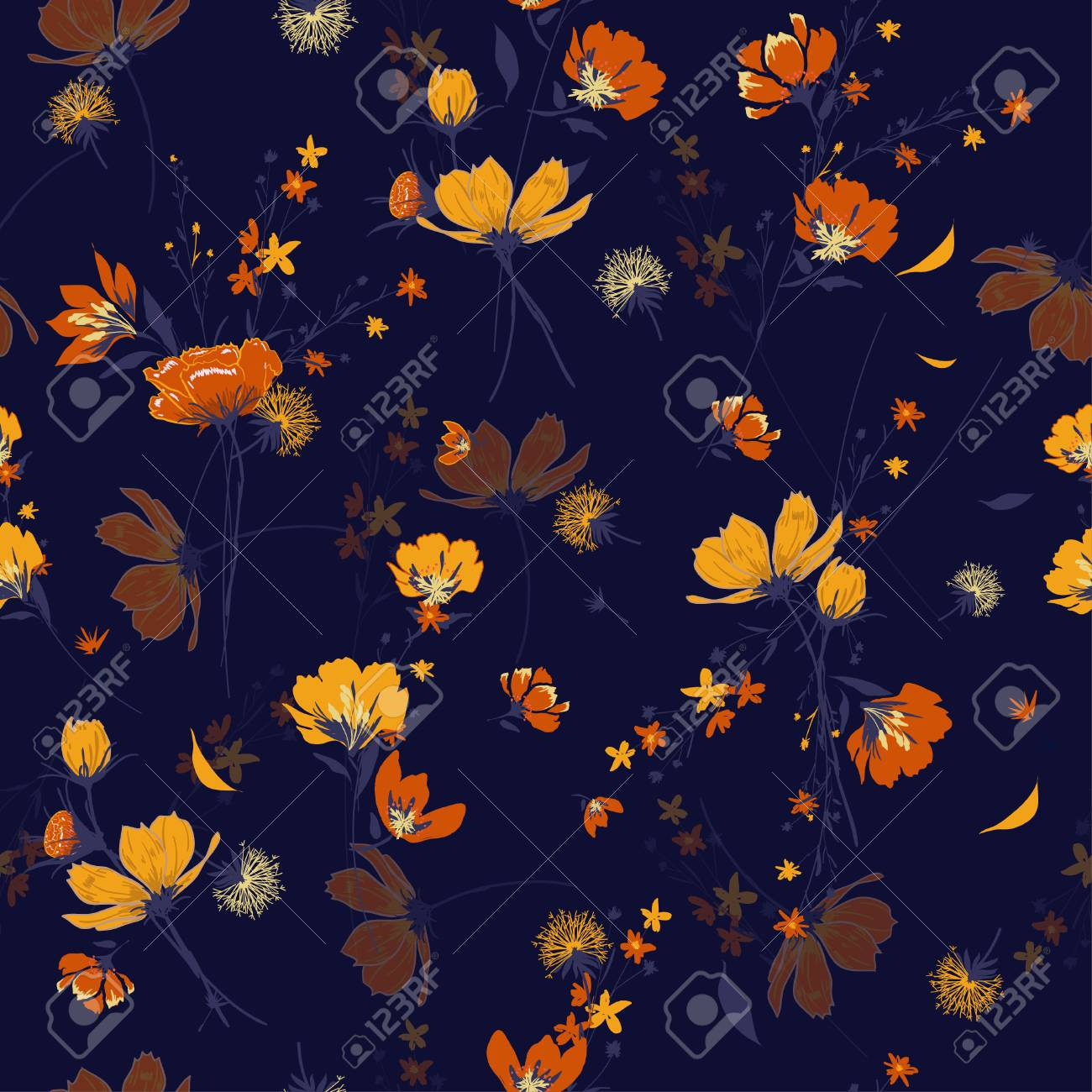 Retro Seamless Pattern Wind Blow Flowers Isolated On Navy Blue
