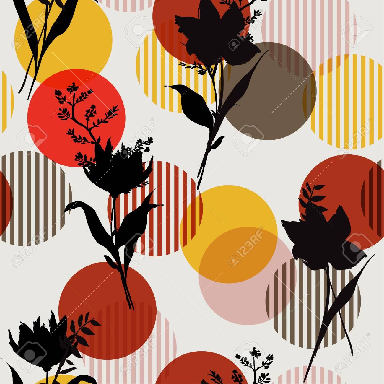 Vector Botanic Black Silhouette Floral Seamless Pattern On Modern