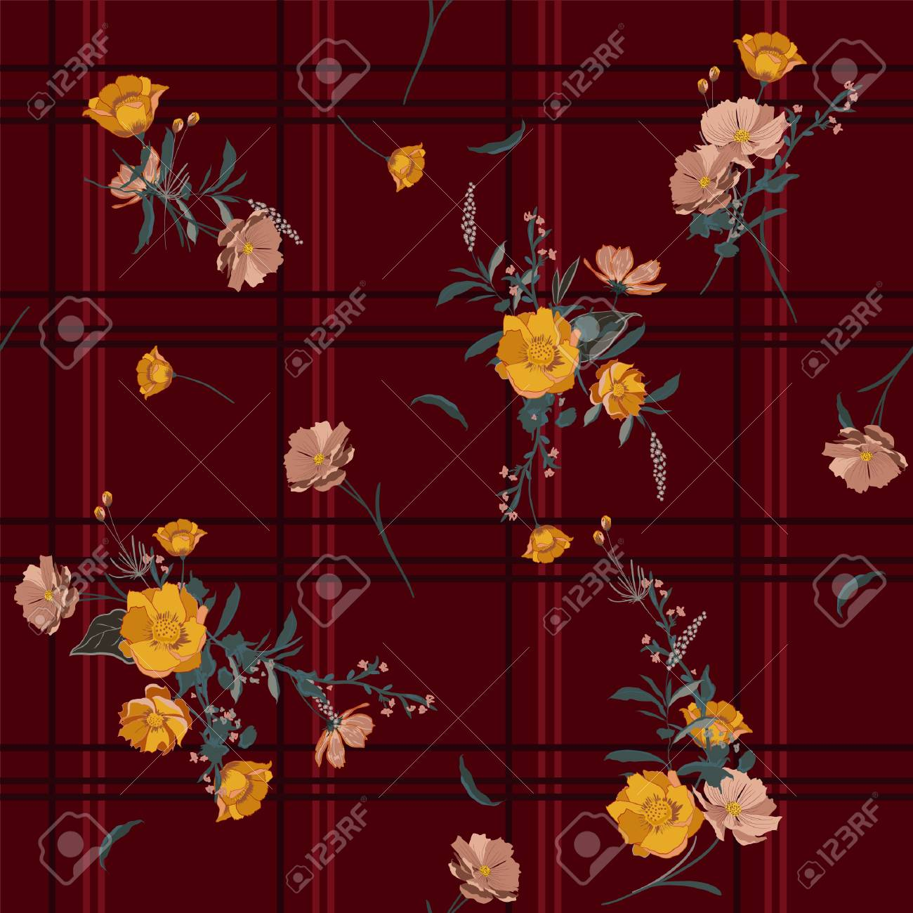 seamless vector check background with bouquets of flowers on
