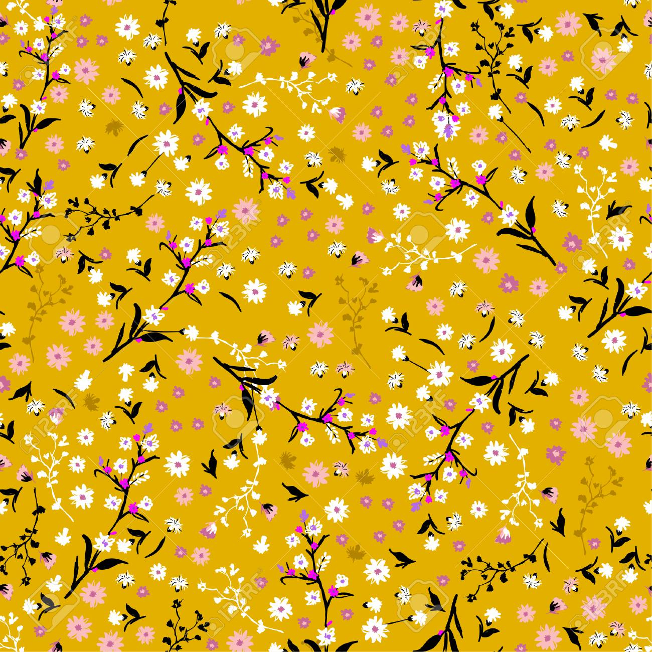 Floral pattern. Pretty flowers on vintage yellow background in liberty style. Printing with small white and pink flowers. Ditsy print. Seamless vector texture. Spring bouquet. - 94651376