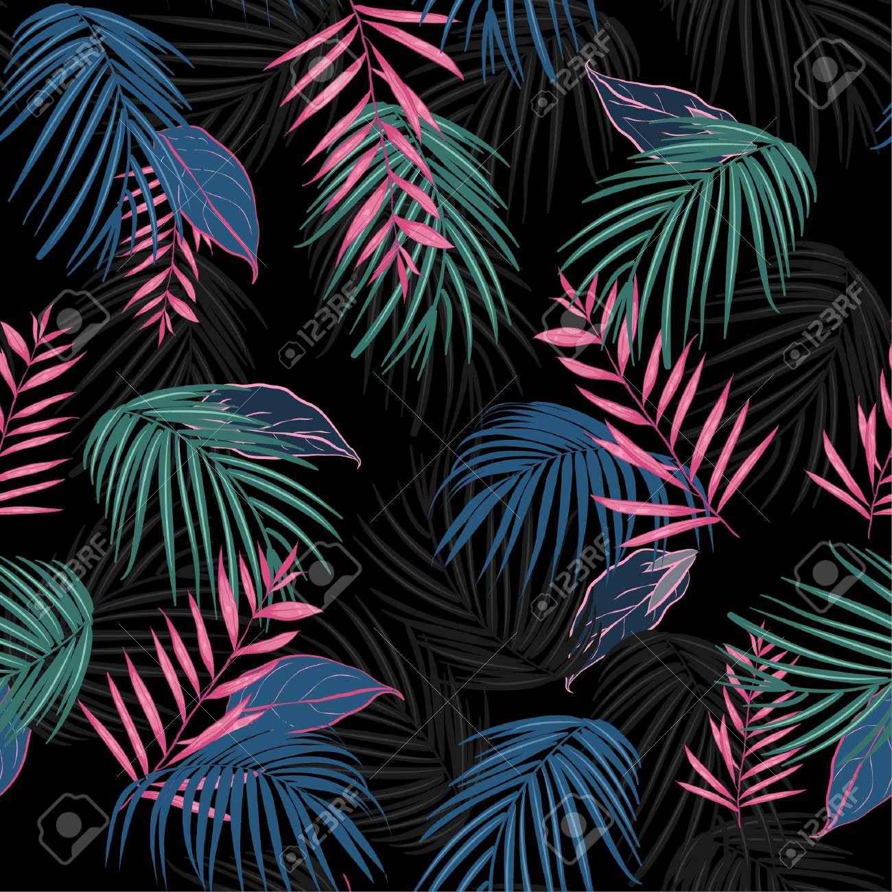 vector seamless beautiful artistic dark tropical pattern with exotic forest. Colorful original stylish floral background print, bright rainbow colors on Black - 95341613