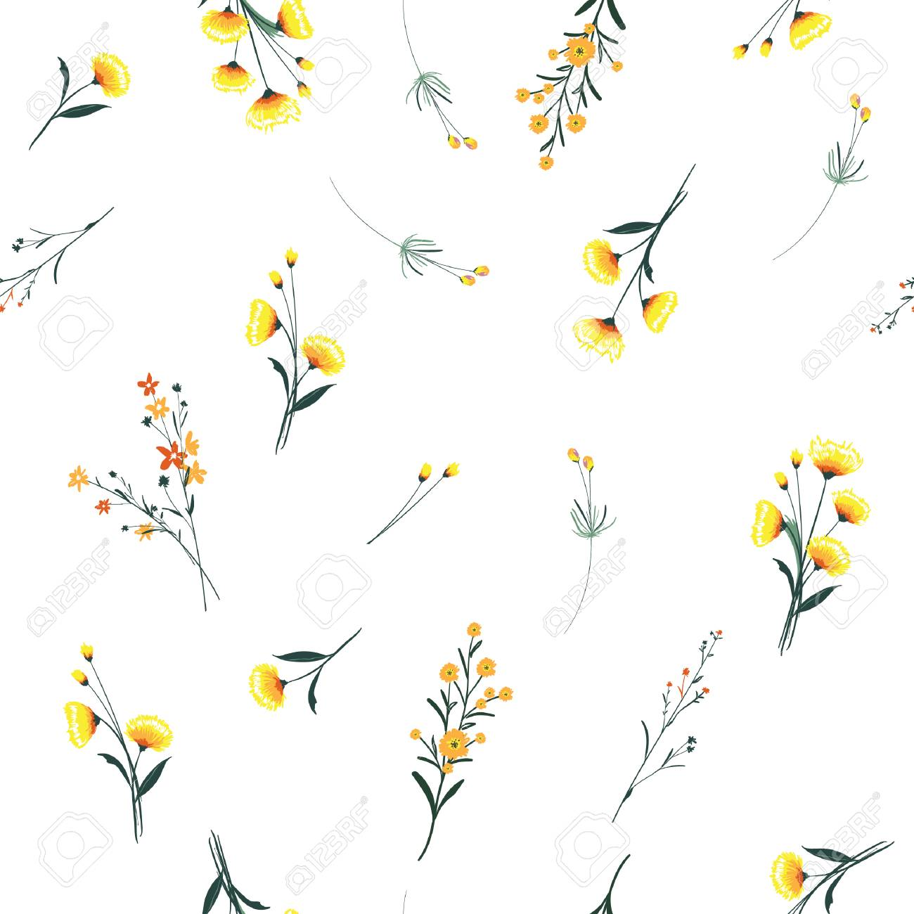 Trendy yellow wind blowing, floral pattern in the many kind of flowers. Wild botanical Motifs scattered Seamless vector texture. For fashion prints. Printing with in hand drawn style on white background. - 95251956