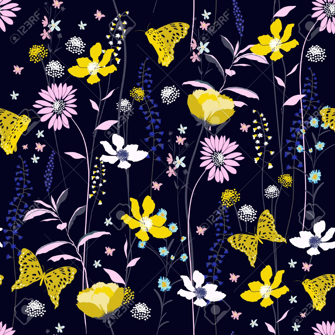 Beautiful Dark Night Seamless Pattern Colorful Wind Blow Flowers