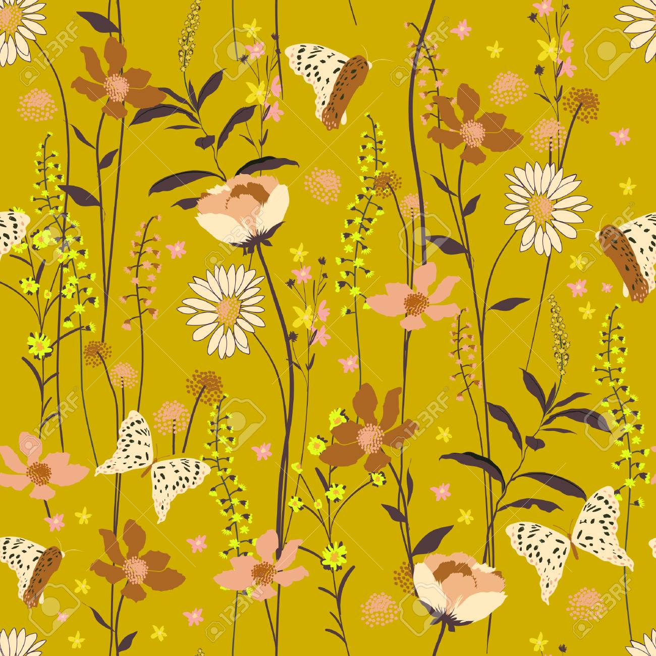 Vintage Seamless Pattern Wind Blow Flowers Isolated On Yellow