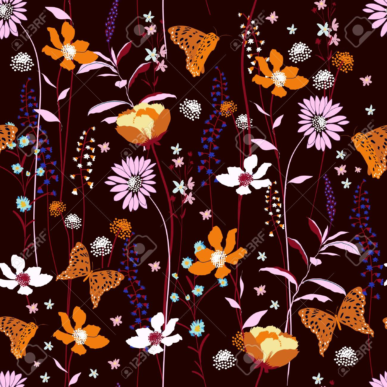 Seamless Pattern Wind Blow Flowers Isolated On Dark Maroon