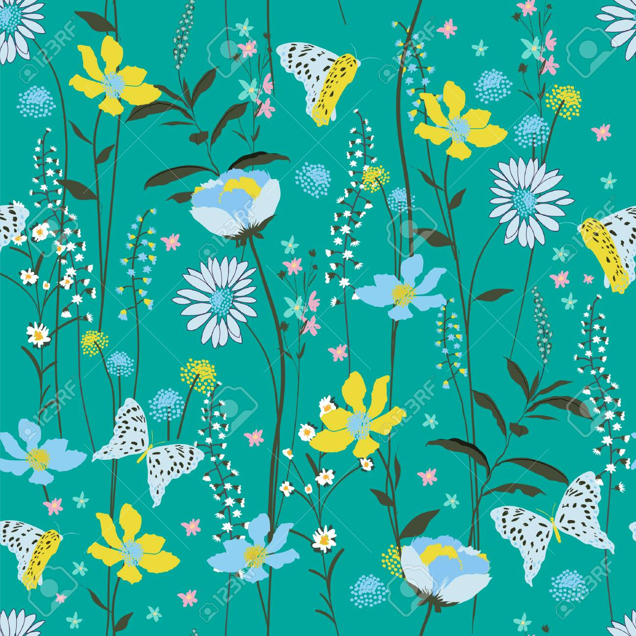 Sweet Pastel Seamless Pattern Colorful Wind Blow Flowers Isolated