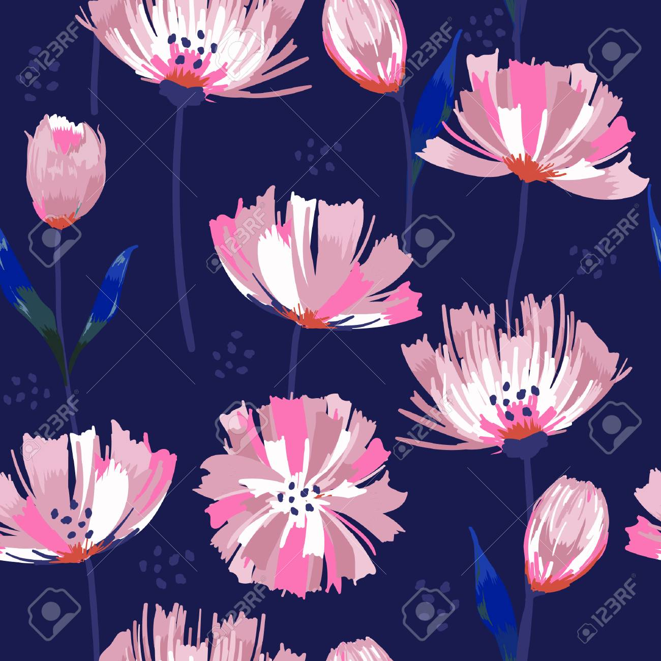Painted Dark Blooming Garden Pink Flowers Seamless Vector Abstract