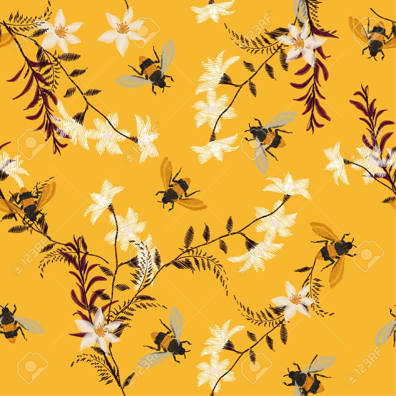 Stylish embroidery Bee, butterfly, and flowers . Vector vintage decorative element for embroidery, patches and stickers on vintage yellow background. - 97015531
