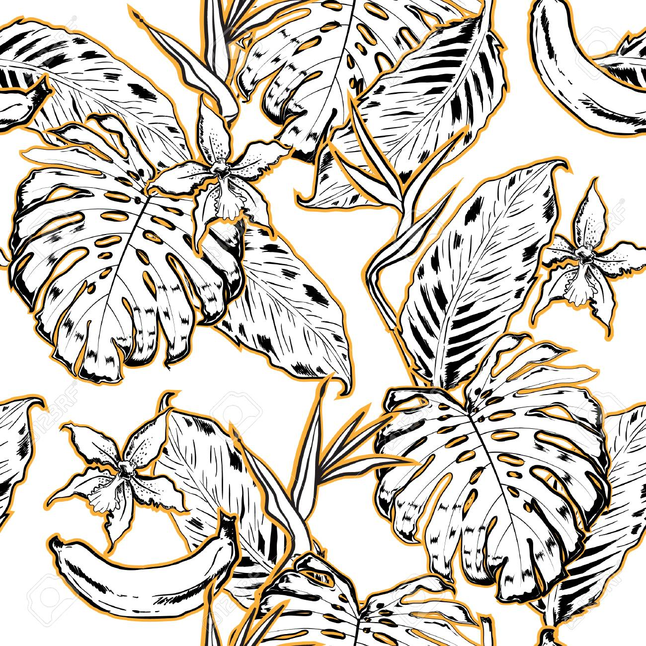 Outline Hand Drawing Exotic Leaves Seamless Pattern Tropical Royalty Free Cliparts Vectors And Stock Illustration Image 98089820