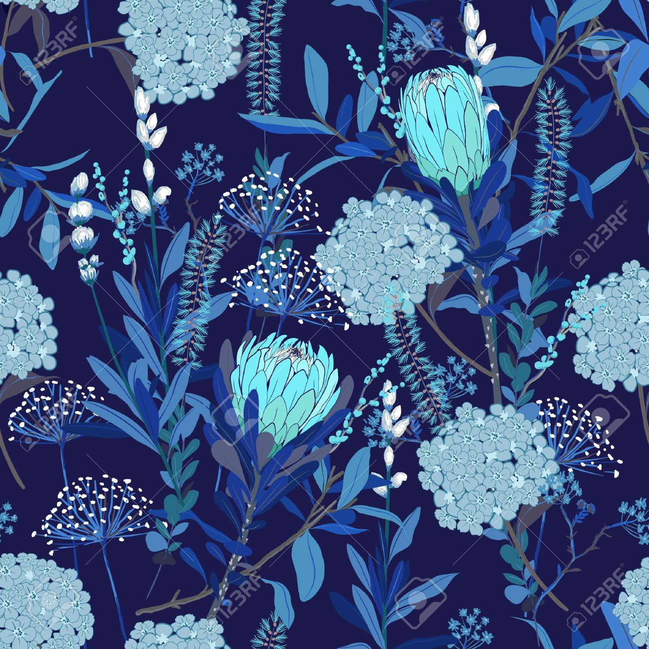 Monotone Blue Floral Pattern In The Many Kind Of Flowers Tropical