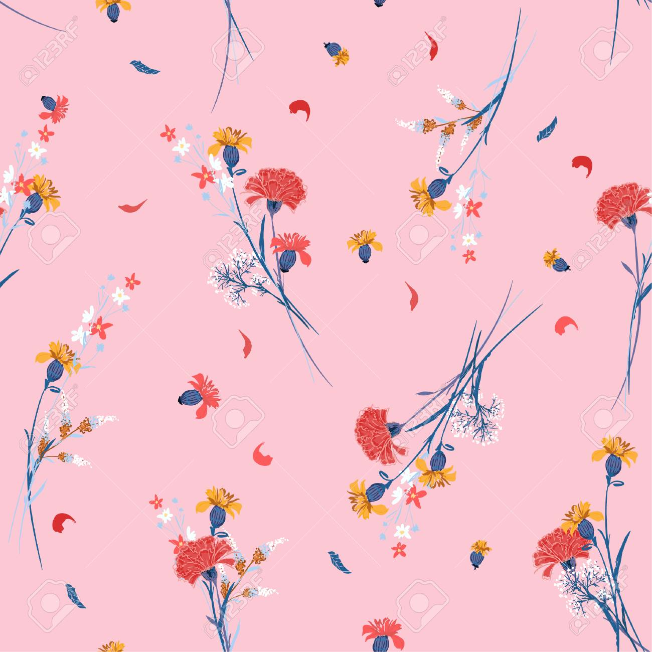 Sweet wild flower pattern Botanical Motifs scattered random. Seamless vector texture. For fashion prints. Printing with in hand drawn style on pink background. - 103827685