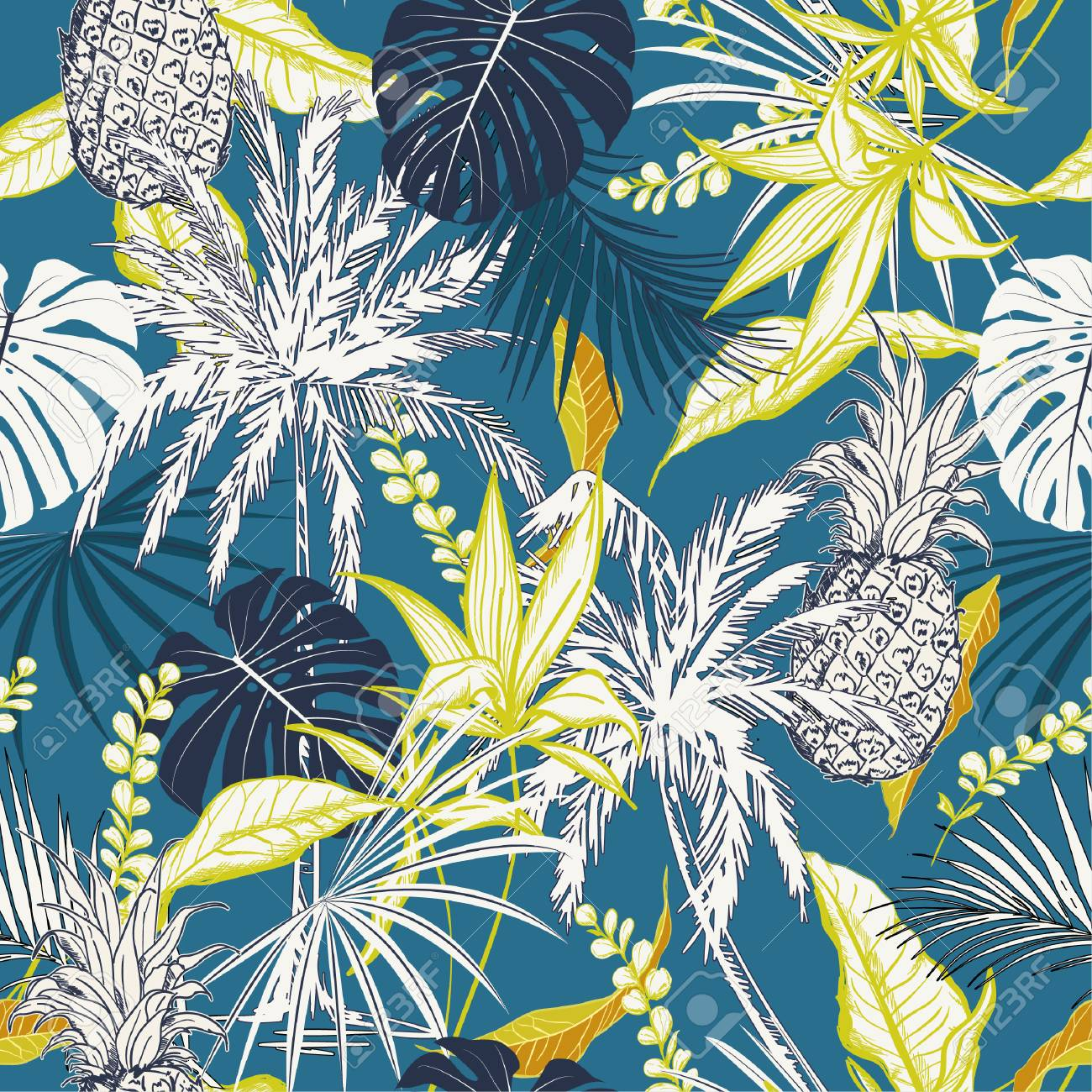 Summer colorful tropical forest leaves and tress hand drawn style seamless pattern vector for fashion fabric , wallpaper, and all prints on ocean blue background color - 104004829