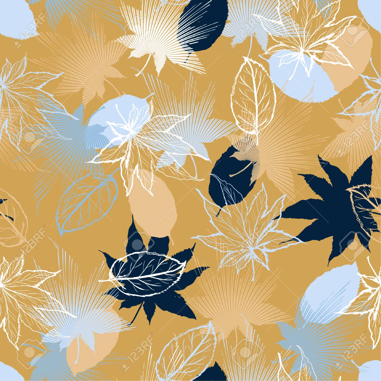 Beautiful retro Hand drawn Maple leaves mix with modern line in maple shape and autumn leaves element seamless pattern vector layer for fashion,fabric,and all prints on light beige background. - 105700526