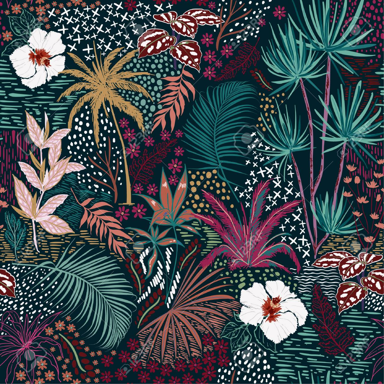 Beautiful Retro hand sketch seamless tropical dark summer forest pattern with colorful palm trees,leaves,exotic wild and plants vector in hand drawn style,for fashion ,fabric and all print - 106233452