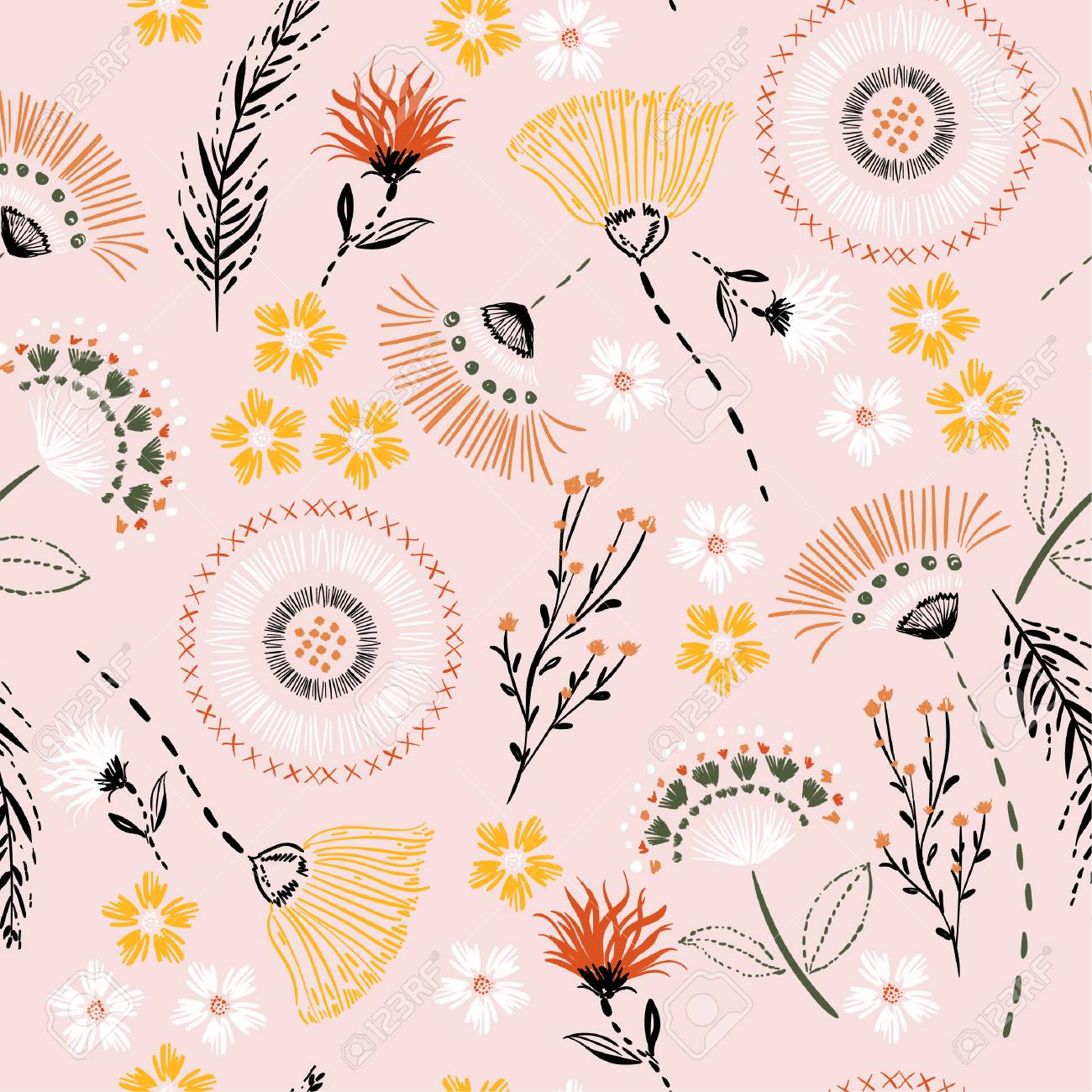 Sweet pastel Seamless pattern Colorful hand drawing sketch garden flowers and line ,dash leaves in doodle style vector suits for fashion,fabric and all prints on light pink background color - 106605076