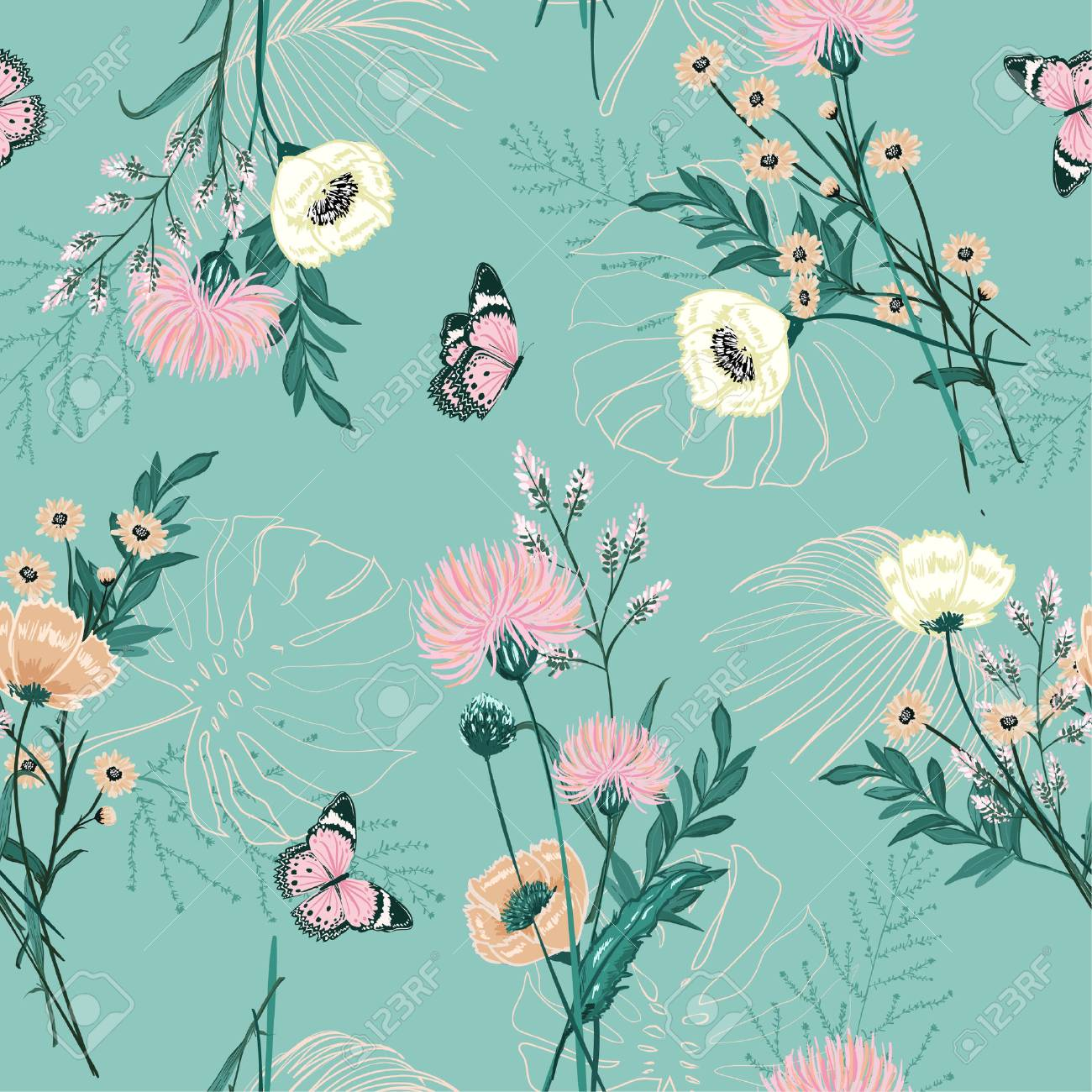Trendy Pastel Of Many Kind Of Garden Flower Plants Botanical