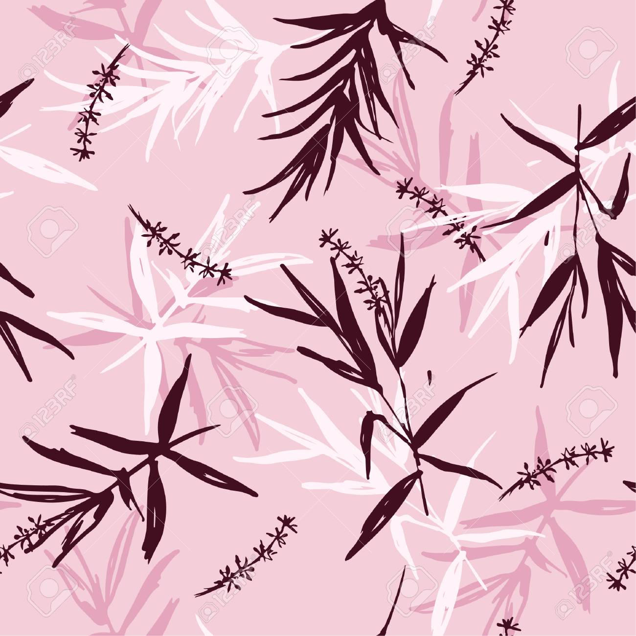 109481130 sweet seamless pattern of brush bamboo leaves and flower oriental style design for fashion fabric wa