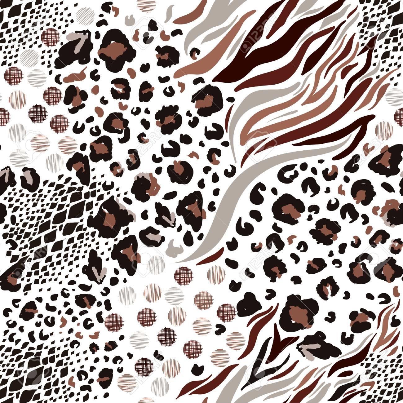 67b607a9d4a2 Mix animal skin prints ,Leopard, snake, zebra, tiger safari africa seamless  pattern