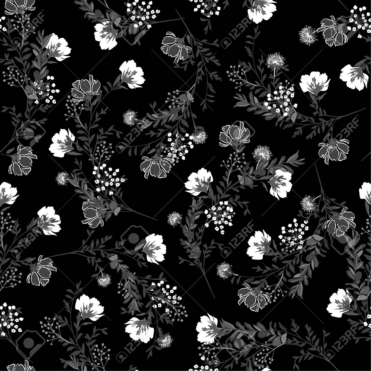 Black and white Seamless pattern ,blooming garden flowers in delicate botanical design for fashion,fabric,wallpaper and all prints - 109481867