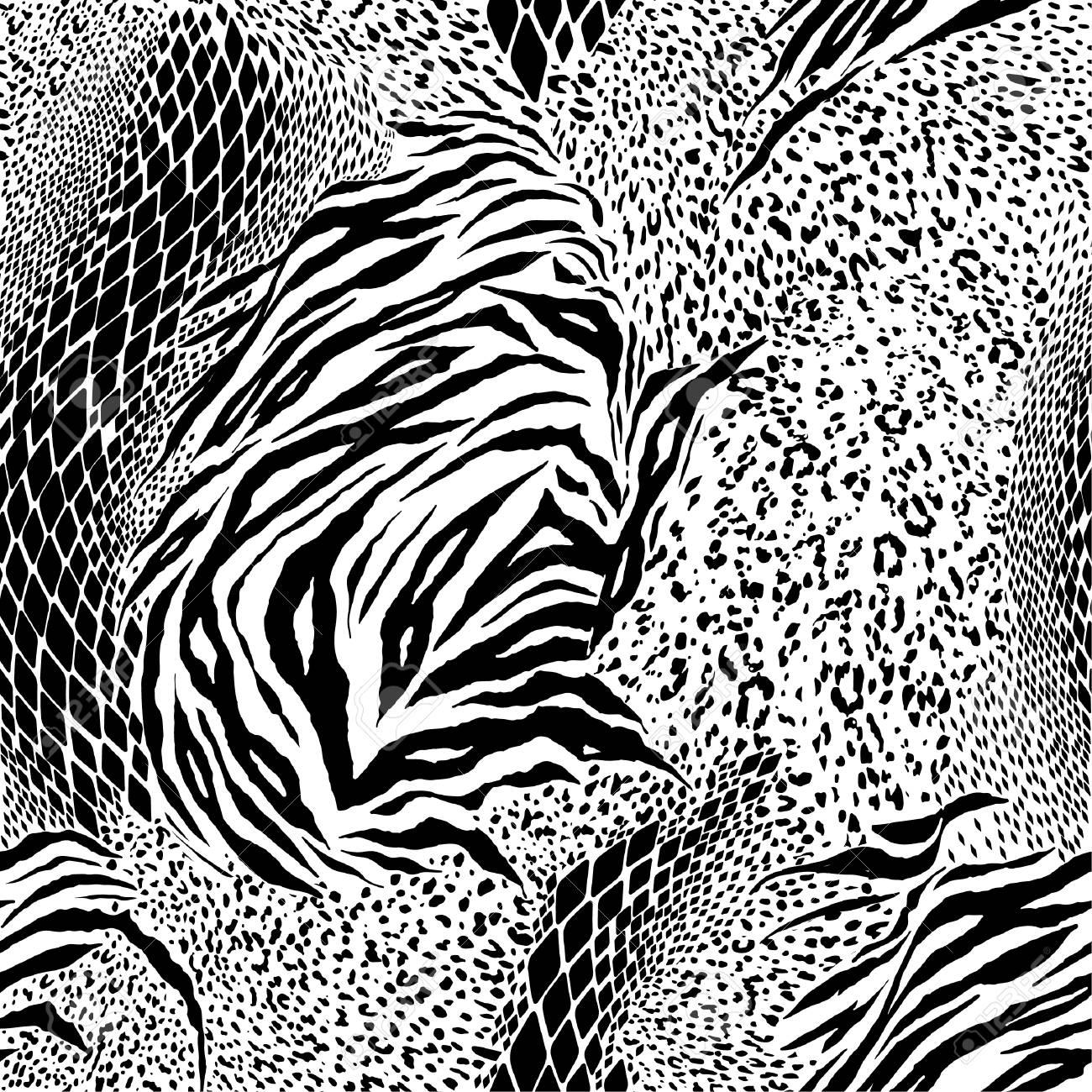 34579fc3a158 Black and white Mixed animal skin,tiger,zebra,leopard,snake, background