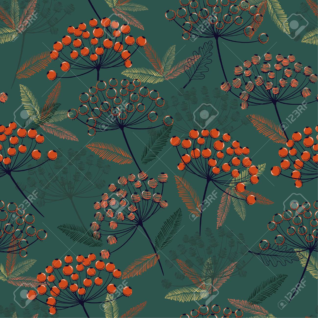 Beautiful Hand drawn seamless vector pattern. Fall/winter line flowers and orange berries design for fashion,fabric.wallpaper and all prints on dark green background. - 112522075