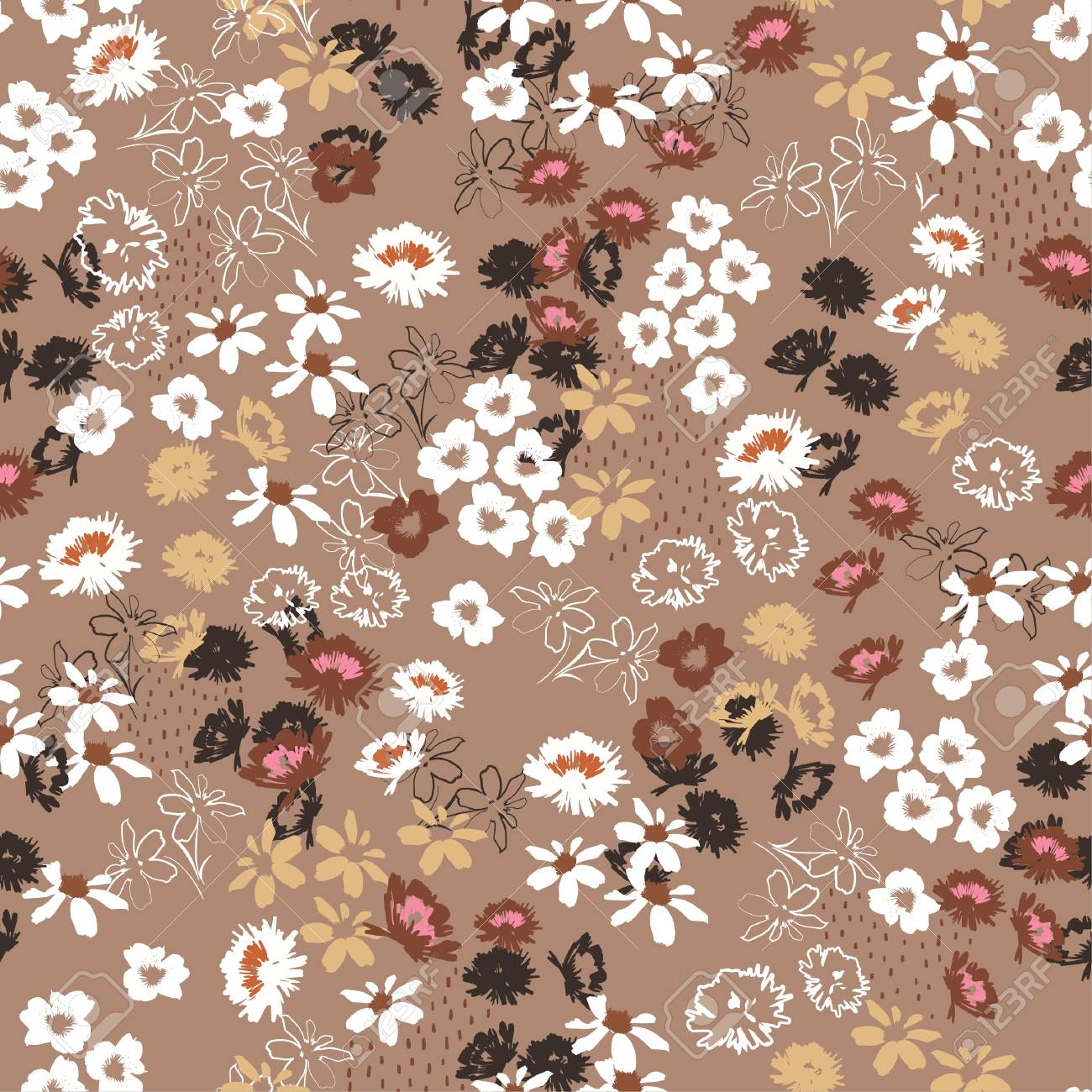 Vintage Seamless pattern in colorful small pretty flowers. Liberty style blooming meadow florals design for fashion , fabric , wallpaper , web and all prints on stylish brown background color - 124605204