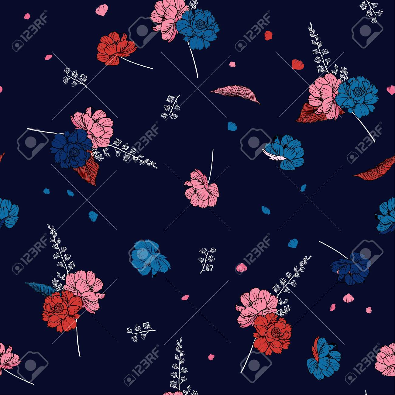 Beautiful Seamless Floral Pattern In Vector Illustration Design