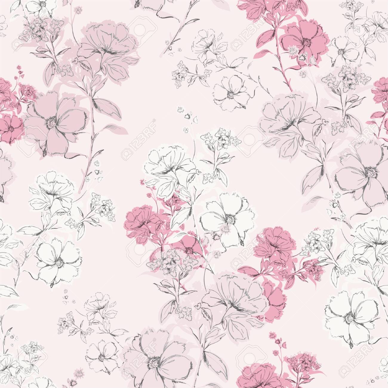 Soft Pink Delicate Blooming Hand Drawn Pencil Line Skecth Seamless