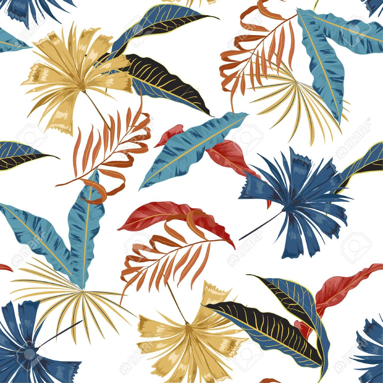 Trendy vector seamless beautiful artistic bright tropical pattern with exotic forest. Colorful original stylish floral background print, bright rainbow colors on white background color - 123378364